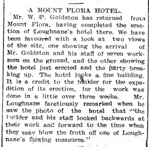 Article about the building of the Mt Flora Hotel in the Daily Mercury, April 28, 1908